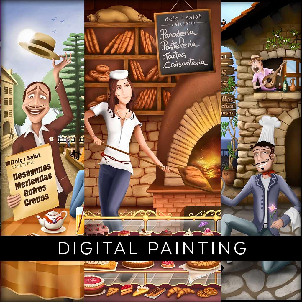 Artworks for cafetería